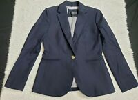J Crew Women's Blazer Wool Elastane Navy Blue Gold Buttons Military Size 2P