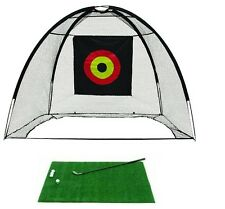 Golf Cage Net and Hitting Practice Mat Combo Easy Set Up Quick Pop Net + 3x4 Mat
