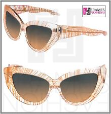 Linda Farrow x Charlotte Olympia Feather Cat Eye Leggy Sunglasses Peach Crystal