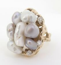 .A Large Baroque Cultured pearl & Diamond 14k Gold Dress ring Size K Val $6900