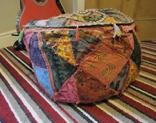 Indian Handmade Pillow Large Pouf Cover Ottoman Patchwork Foot Stool Floor Decor