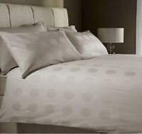 100% Cotton 400 Thread Count Polka Spot Stone Jacquard Duvet Cover Bed Set