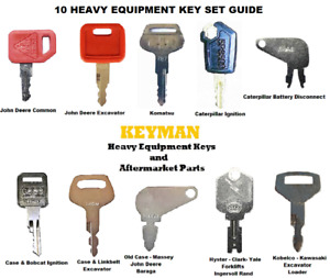 10 Ignition Key Set for Heavy Construction Equipment Cat Case JD Komatsu Hyster