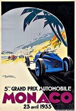 Art Ad Monaco Grand Prix Auto Car Race 1933 Deco   Poster Print