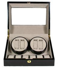 (4) +6 Storage Box Case W4+6black Top Quality Automatic Quad Wood Watch Winder
