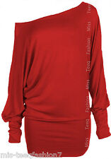 Womens Long Sleeve Off Shoulder Mini Batwing Tunic Dress Top UK 8-26