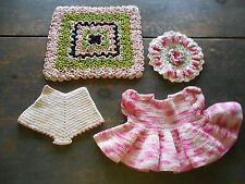 BEAUTIFUL ANTIQUE VINTAGE CROCHETED HOT PAD, POT HOLDER, DRESS AND PANTIES