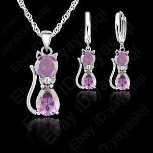 Lovely Purple Cat AAA Zircon Crystal Earring+Necklace Woman Girls Jewelry Sets