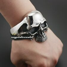 316L Stainless Steel Huge Heavy Skull Mens Biker Bracelet Bangle Cuff 5J022A