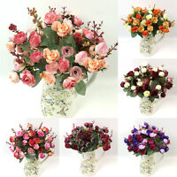 21Head ARTIFICIAL Rose Daisy Flower Leaf Home/Wedding/Party Decor 6 Choices