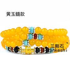 6mm Tibetan Buddhism 108 yellow jade Prayer Bead Mantra Mala Necklace
