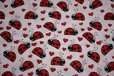 """Red Black Lady Bugs with Red Hearts Quilt Cotton Fabric 57""""X45"""""""