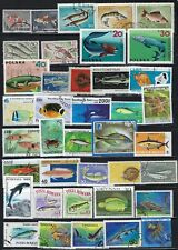 Collection of 50 different Fish & Aquatic Life on Stamps......02M.........# 708