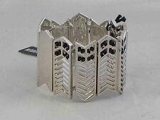 Steve Madden Silvertone Geometric Cutout Black Crystal Inlay Stretch Bracelet