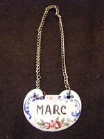 Etiquette de col à carafe en cuivre émaillé XIX ème Marc Decanter Ticket