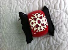 Sterling Silver Maltese Cross Red Enamel Bracelet w/ red and white Quartz
