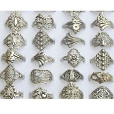 10pcs Wholesale Jewelry Lots Mixed Silver Flower Rings Vintaged Punk Style Gifts