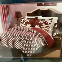 Chic Home 3 Piece Calla Lily Reversible Duvet Cover Set, Queen, RED
