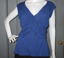 POPULATION stretch wrap front top L knit sleeveless tie back tank deep blue EUC