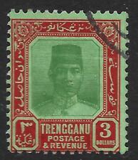 Trengganu 1926 $3 verde y Lago/Verde SG 43 (usado)