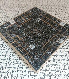 50s 60s Vintage Retro Kitsch Black Grey Pebble Pottery Mosaic Tile Dish Ashtray