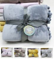 Luxury PomPom Fleece Blanket Sofa Bed Throw Soft  All Season 150 x 200 Double