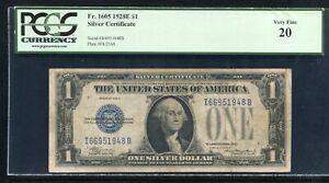 "FR. 1605 1928-E $1 ""FUNNYBACK"" SILVER CERTIFICATE ""KEY SERIES"" PCGS VERY FINE-20"
