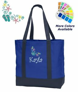 Personalized Beach Tote Bag Embroidered with Beach Shoes Design Monogrammed