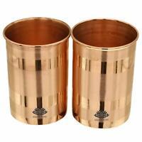 KESAR KUNJ Pure Copper Tumblers Ayurvedic Water Drinking GlassesSet of 2,(300ml)