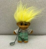 "Vintage Troll Doll Russ Golfer w/ Golf Club Shirt Pants Yellow Hair 5"" Long"
