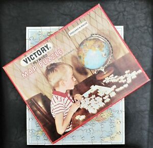 """VICTORY """"ENGLAND & WALES"""" MAP 100 PIECE PLYWOOD JIGSAW PUZZLE COMPLETE VINTAGE"""