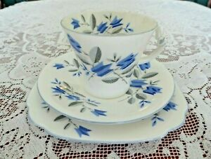 """ROYAL ALBERT CROWN CHINA ART DECO """"BLUE STYLIZED FLOWERS"""" CUP SAUCER PLATE TRIO"""