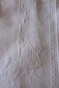 Vintage English Gorgeous Embossed Nursery Rhyme Cotton Baby Blanket Baby Cover