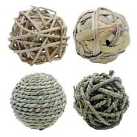 Natural Straw Ball Pet Cat Parrot Chew Bite Teeth Cleaning Toy Rabbit Cat Rodent