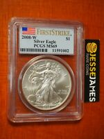 2008 W BURNISHED SILVER EAGLE PCGS MS69 FLAG FIRST STRIKE LABEL