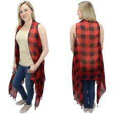 Lightweight Red/Black Buffalo Plaid Vest with Tassels - One Size