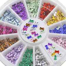 12 Colour Nail Art Wheel Bowknot Rhinestone Decorations UK SELLER