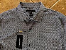 Michael Kors Button Down Casual Shirt Mens XL Black Geo Print Slim Fit NWT $145