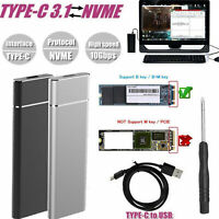 M.2 NGFF to USB 3.1 Type-C SATA SSD Converter Adapter Enclosure Case 10Gbps