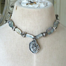 Handmade Beaded Stone Quartz Pendant Statement Necklace EUC