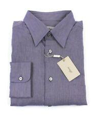 NWT $595 BRIONI Purple-Beige Twill 100% Cotton Dress Shirt XL 17 Italy