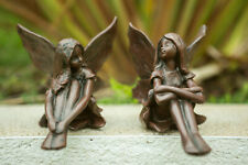 2x Sitting Fairy Garden Ornaments Resin Nymph Statues Outdoor Decor Elves Angels