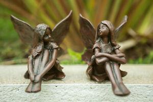 2pc Resin Sitting Fsiries Garden Figures Bronze Effect Elves Pixies Ornaments