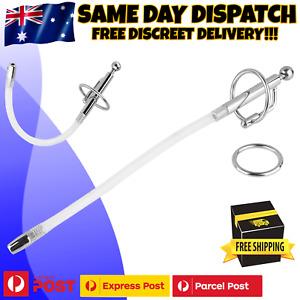 Stainless Steel Cum Thru Flexible Penis Plug Cock Ring Urethral Sound Catheter