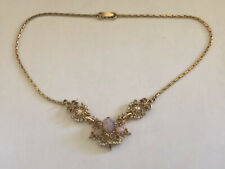 """Vintage Fire Opal, Seed Pearl & Rhinestone Pendant Necklace Chain 15"""""""