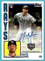 2019 Topps Update 1984 Auto 150 YR Gold Stamp Nate Lowe Rays On Card /150