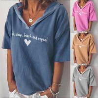NEW Women Hooded Tops Ladies Short Sleeve V-neck Loose T-Shirt Blouse UK 8-22 FS