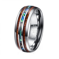 Luxury Mens Tungsten Carbide Koa Wood Abalone Shell Christmas Gift Wedding Ring