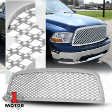 For 2009-2012 Dodge Ram 1500 {3D WAVE MESH} Glossy Silver Front Bumper Grille