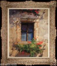 "Original Oil Painting art Impressionism window Landscape on canvas 20""x24"""